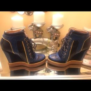 L.A.M.B. Shoes - Leather platform wedged sneaker.